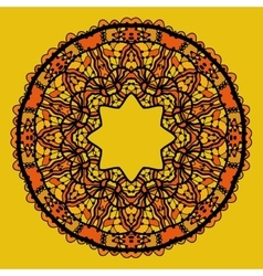 Round lace patterd mandala like design in yellow vector