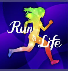 Run is life sport motivation lettering poster vector