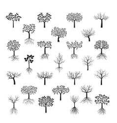 set black trees with leafs vector image