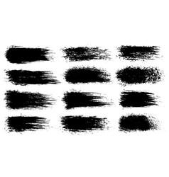 set grunge artistic brush strokes vector image
