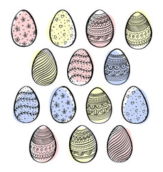 set of decorative easter eggs with pattern vector image