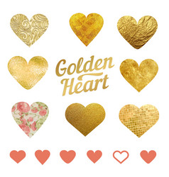 set of golden hearts for wedding decorations or vector image