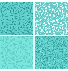 set seamless patterns in trendy linear style vector image