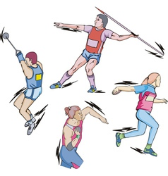Shot put Discus Hammer and Javelin throw vector image