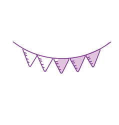 silhouette cute party flag hanging design vector image