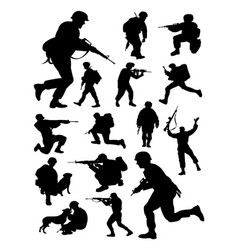 silhouettes soldier vector image