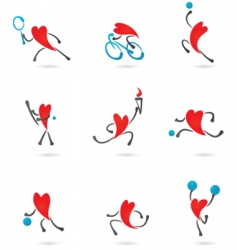 Sport and fitness heart icons vector