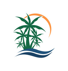 summer palm beach view graphic vector image