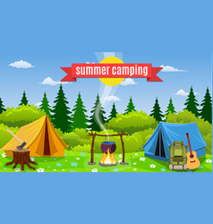 tents with bonfire on forest background vector image