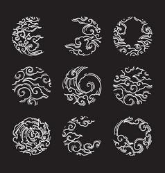 traditional asian cloud eclipse shape set vector image
