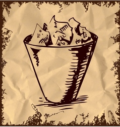 Trash bin isolated on vintage background vector image