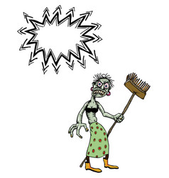 Undead monster lady cleaning-100 vector