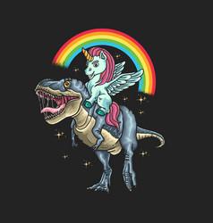 unicorn ride dinosaur graphic vector image