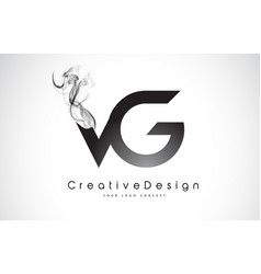 Vg letter logo design with black smoke vector