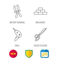 wall battery terminals and scissors icons vector image