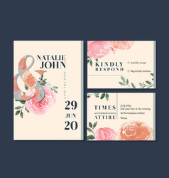 wedding card flower watercolor thanks card vector image