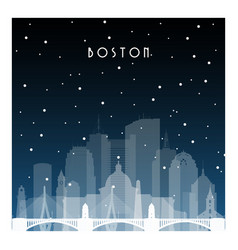 Winter night in boston night city in flat style vector