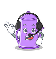 With headphone purple teapot character cartoon vector