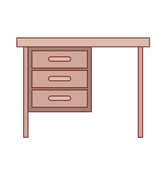 Wooden desk of three drawers in colorful vector