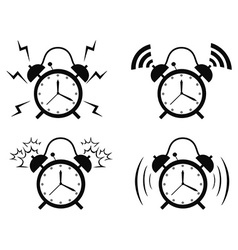 black alarm clock icon vector image vector image