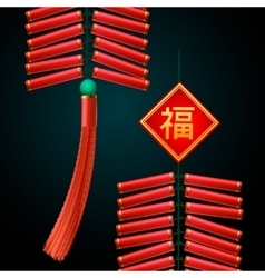 Chinese New Year firecrackers ornament vector image vector image