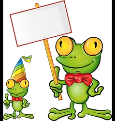 frog cartoon with signboard vector image vector image