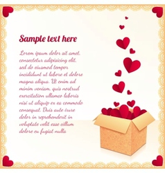 Greeting card with ornate box of red flying hearts vector image vector image