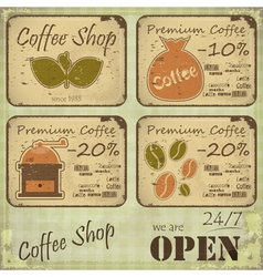 Grunge coffee labels vector image