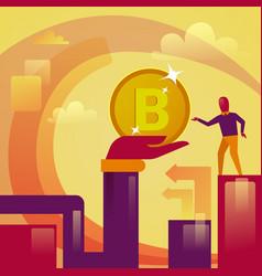 hand giving man bitcoin digital web money crypto vector image vector image