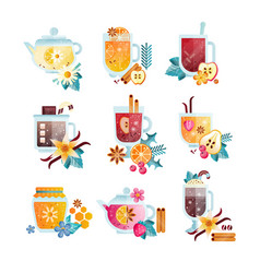 Hot drinks with fruits berries spices and herbs vector