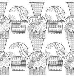 Ice cream dessert black and white vector