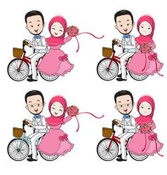 muslim wedding cartoon riding a bicycle vector image vector image