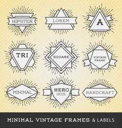 Set of vintage line frames and labels vector image