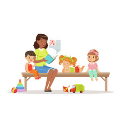 teacher reading a book to kids while sitting on a vector image