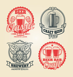 beer and pub vintage label set vector image