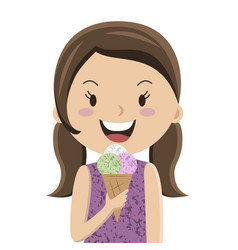 cartoon girl eating ice cream cornet vector image