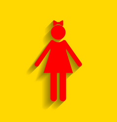 girl sign red icon with soft vector image vector image