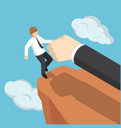 isometric big hand help businessman not to fall vector image vector image