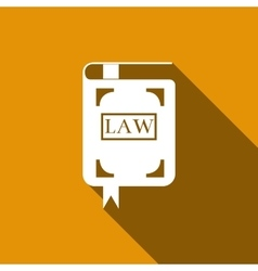 Law book icon with long shadow vector image vector image