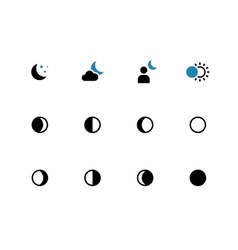 Phases of the moon duotone icons on white vector image vector image