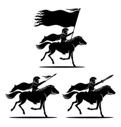 A set of knights on horses vector