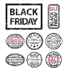 black friday rubber stamps set vector image vector image