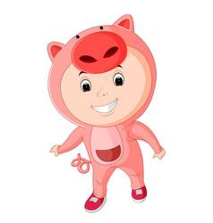 cute kids wearing animal costumes vector image vector image