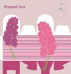 Present box with hyacinth vector image vector image