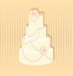 stylish wedding cake decorated vector image
