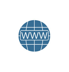 Www and globe internet flat icon website browser vector