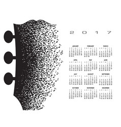 2018 calendar with a guitar headstock vector image