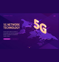 5g network technology isometric landing page vector