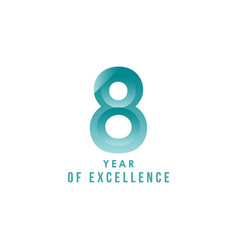 8 year excellence template design vector