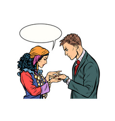a gypsy telling fortunes by hand to businessman vector image